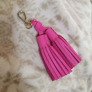 Kate Spade Double Pink Leather Tassel Key Fob